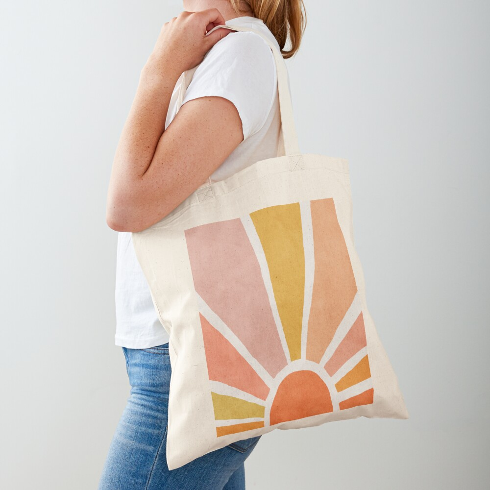 Sun, Abstract, Mid century modern kids wall art, Nursery room Tote Bag