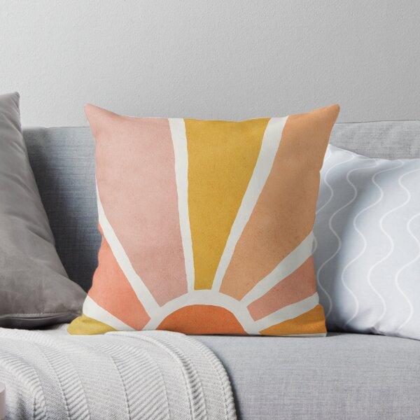 Sun, Abstract, Mid century modern kids wall art, Nursery room Throw Pillow