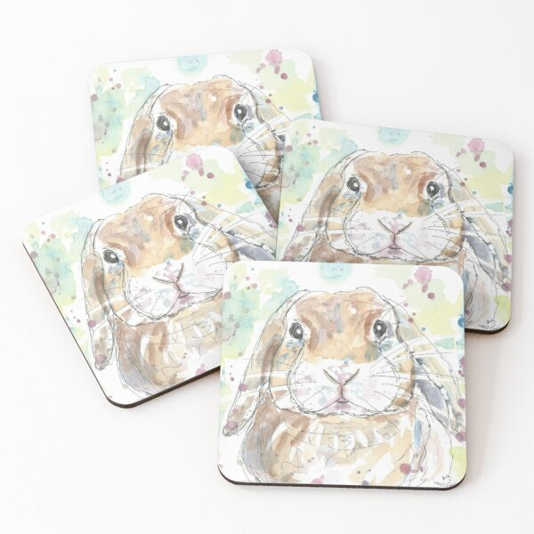 Lop Rabbit Portrait. Coasters (Set of 4)