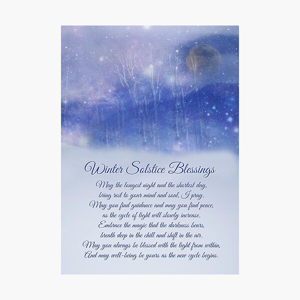 Winter Solstice Blessings, Original Poem With Full Moon, Snow ans Aspens Photographic Print