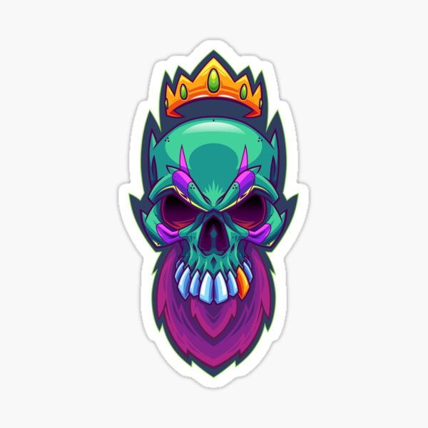 Bearded King Skull Sticker