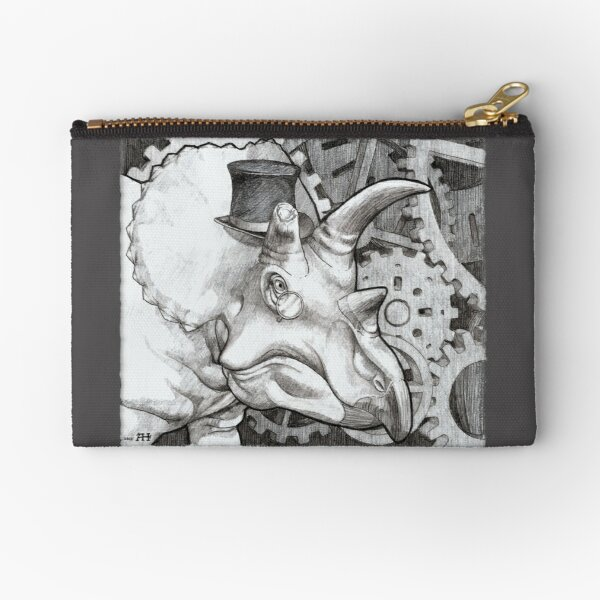 Lord Triceratops - Grey or Gray Zipper Pouch