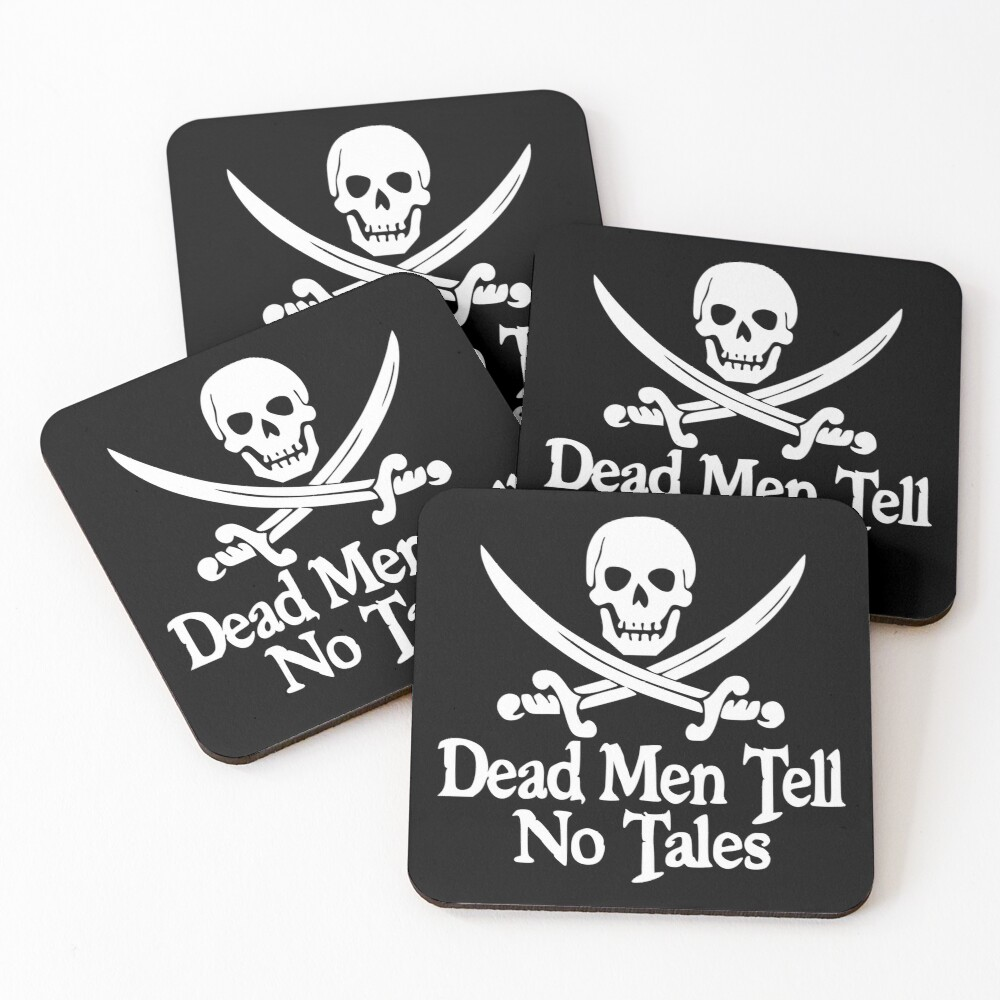 Pirates Skull Crossed Swords Dead Men Tell No Tales - White  Coasters (Set of 4)