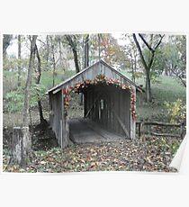 Old Covered Bridge behind Log House, N.W. Arkansas Poster