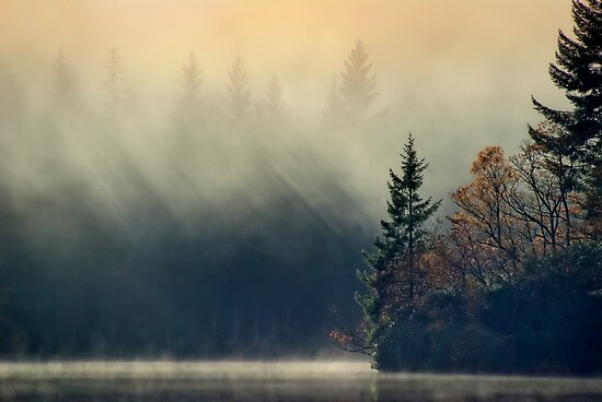 Loch Ard, Mist and Sun... by David Mould