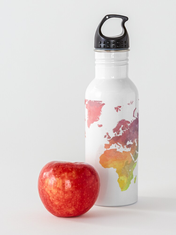 Alternate view of Map of the world colored Water Bottle