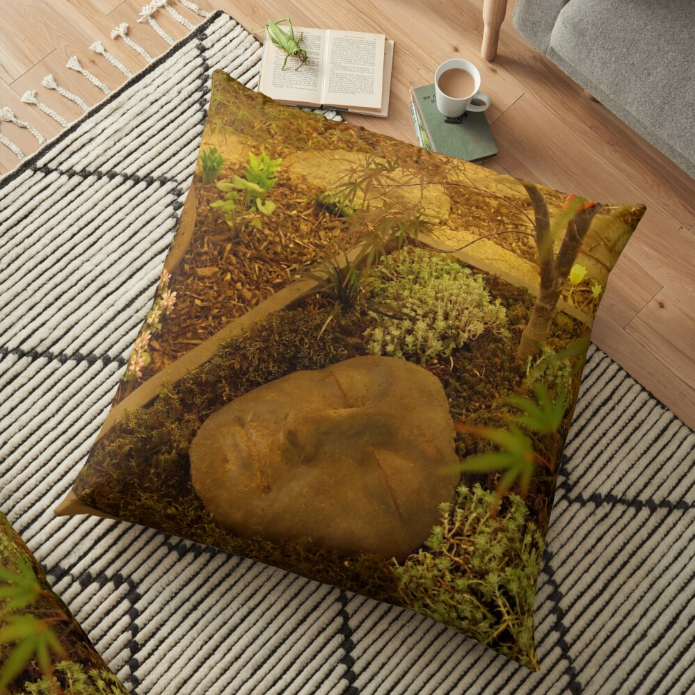 A Face in the Garden  Floor Pillow