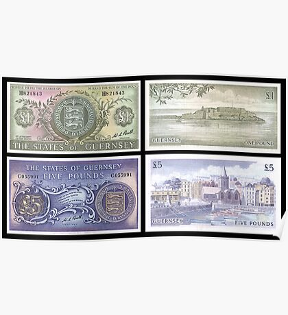 Old Guernsey Banknotes Poster