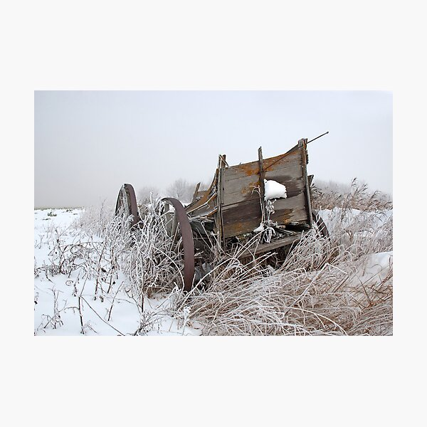 Wagon in Fog and Snow Photographic Print