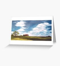 """Red Roof & Canola Fields 40x20"""" Oil Greeting Card"""