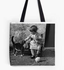 Little girl knitting Tote Bag