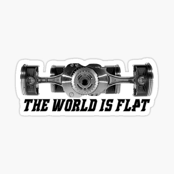 The World Is Flat Boxer Engine Sticker
