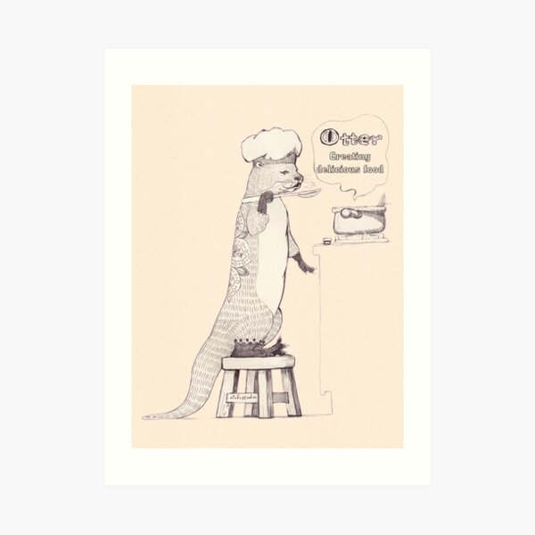 Creating delicious food - Otter - Oldlace Art Print