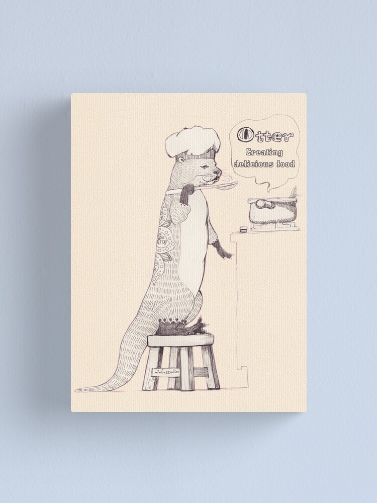 Alternate view of Creating delicious food - Otter - Oldlace Canvas Print