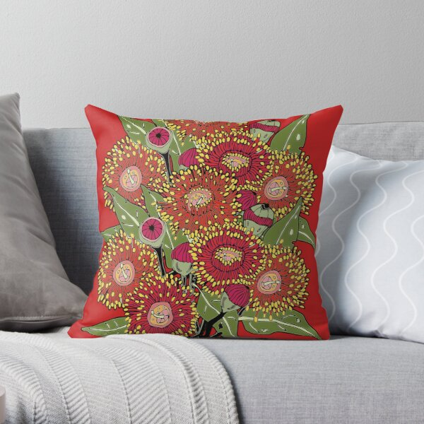 giant bunch of red flowering gum Throw Pillow