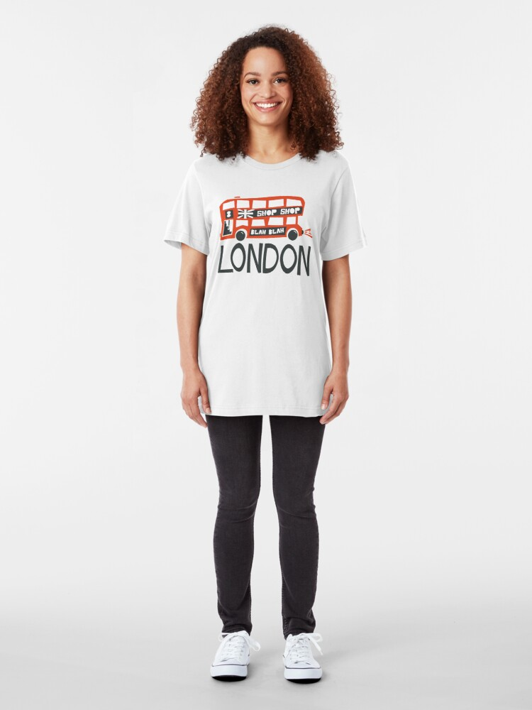 Alternate view of Red London Double Decker Bus Slim Fit T-Shirt