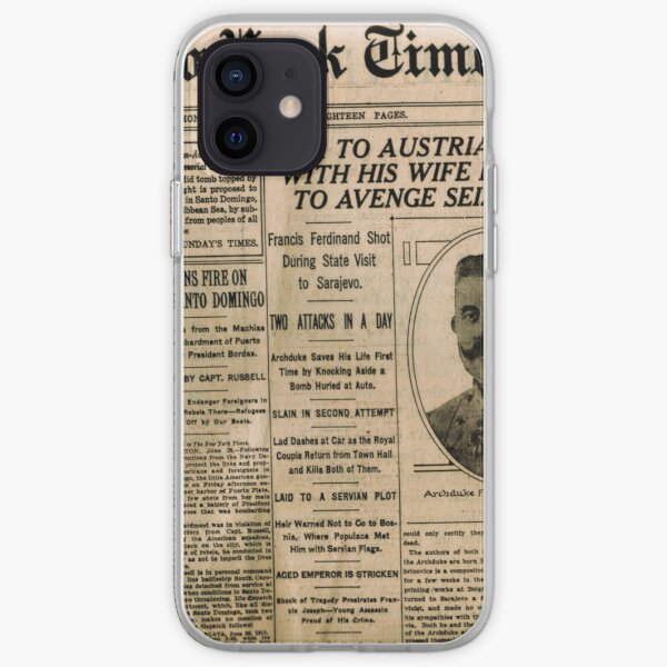 Newspaper article on the assassination of Archduke Franz Ferdinand. Old Newspaper, 28th June 1914, #OldNewspaper #Newspaper iPhone Soft Case