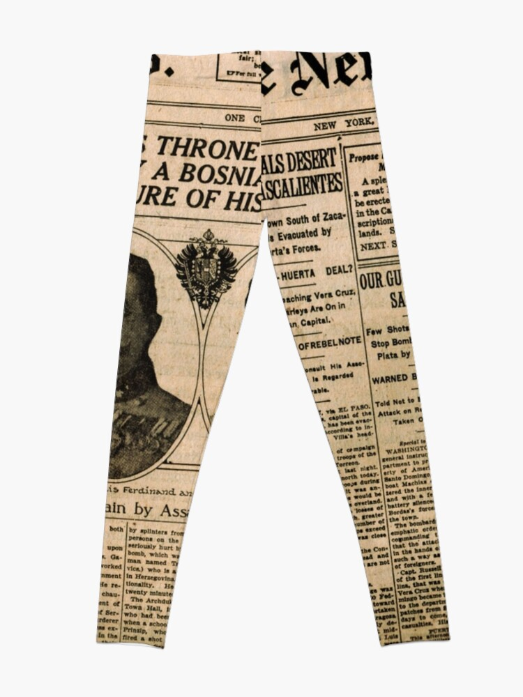 Alternate view of Newspaper article on the assassination of Archduke Franz Ferdinand. Old Newspaper, 28th June 1914, #OldNewspaper #Newspaper Leggings