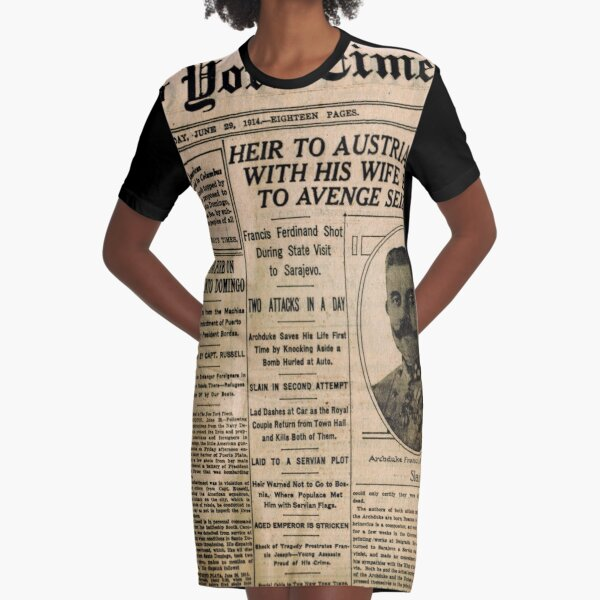 Newspaper article on the assassination of Archduke Franz Ferdinand. Old Newspaper, 28th June 1914, #OldNewspaper #Newspaper Graphic T-Shirt Dress