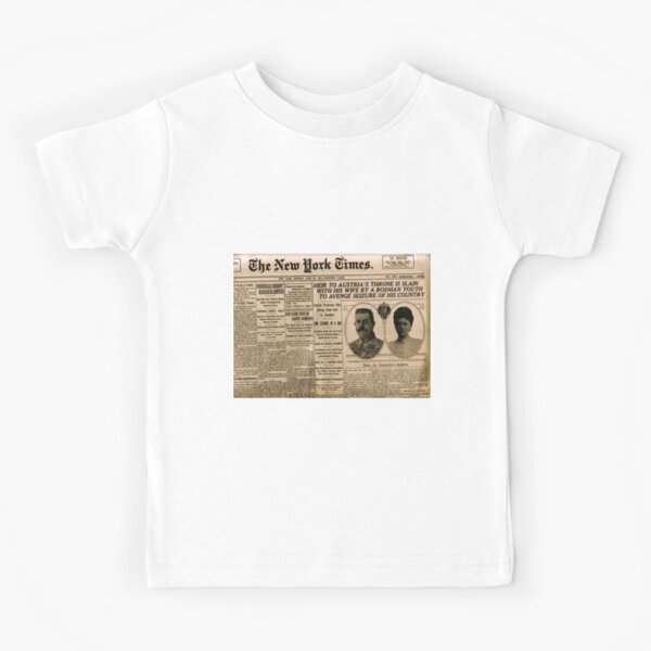 Newspaper article on the assassination of Archduke Franz Ferdinand. Old Newspaper, 28th June 1914, #OldNewspaper #Newspaper Kids T-Shirt