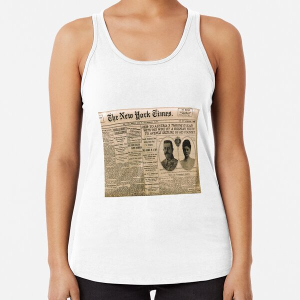 Newspaper article on the assassination of Archduke Franz Ferdinand. Old Newspaper, 28th June 1914, #OldNewspaper #Newspaper Racerback Tank Top
