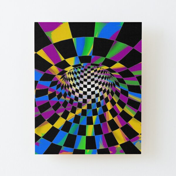 #Checkered, #Spinning, and #Curving #Tunnel Painted in Manner of Chessboard Wood Mounted Print