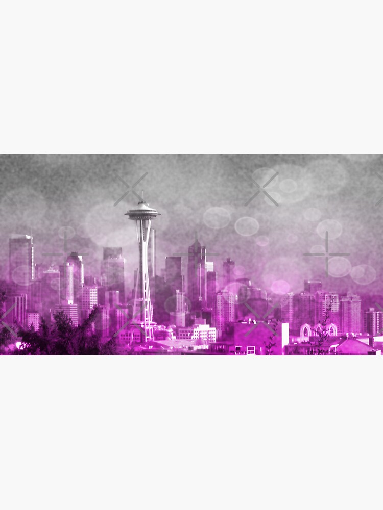 Pink and Grey Bokeh Seattle Skyline by stine1