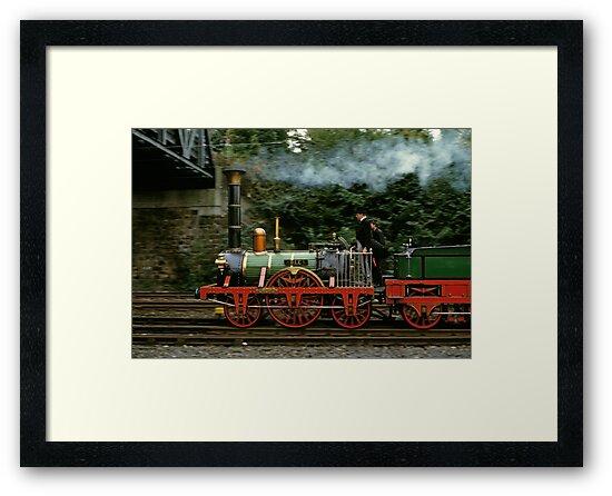Adler steam locomotive replica underway in 1985,Germany. by David A. L. Davies
