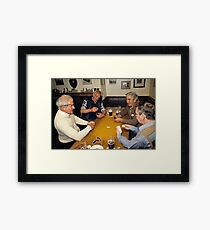 Game of dominoes in English pub, 1985 Framed Print