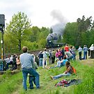 Railway enthusiasts watching steam train, Germany by David A. L. Davies