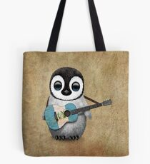 Baby Penguin Playing Guatemalan Flag Guitar Tote Bag