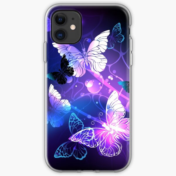 Background with Night Butterflies iPhone Soft Case