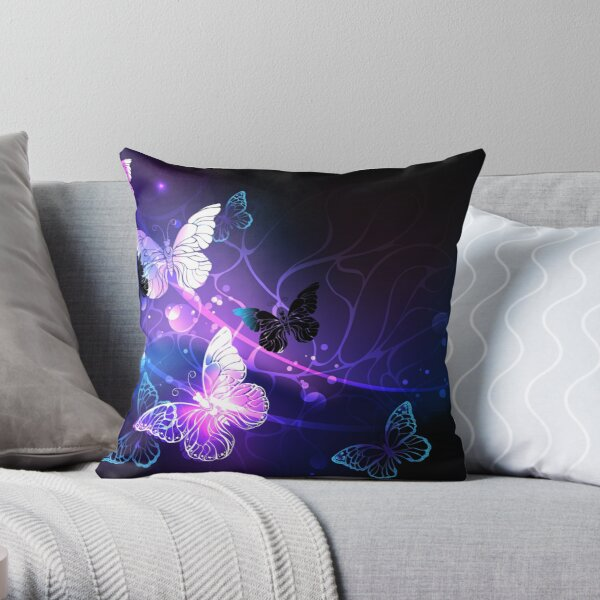 Background with Night Butterflies Throw Pillow