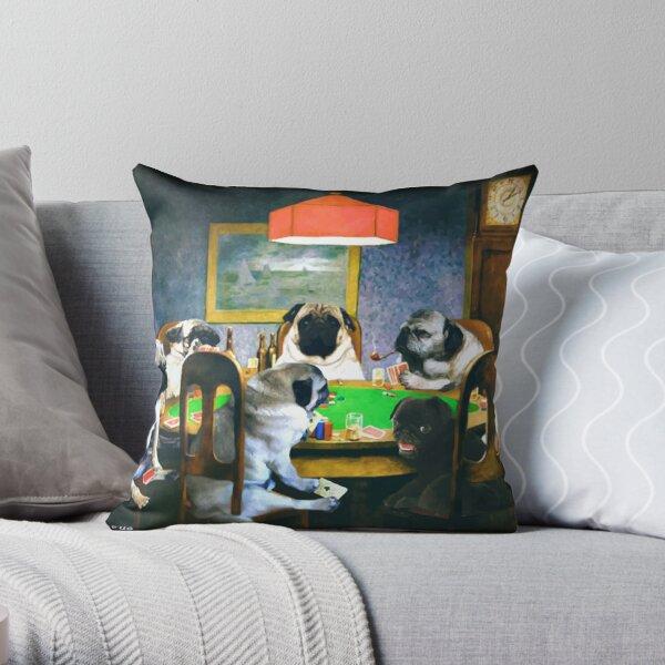 PUGS PLAYING POKER Throw Pillow