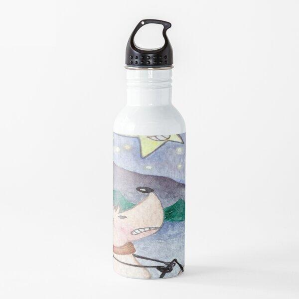 """""""Esquiando"""", Feliz Navidad Botella de agua"""