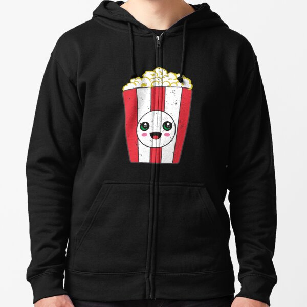 Kawaii Popcorn Movie Zipped Hoodie