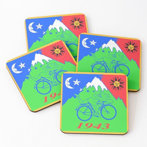 Albert Hofmann Bicycle Day LSD Acid Blotter Art Coasters (Set of 4)
