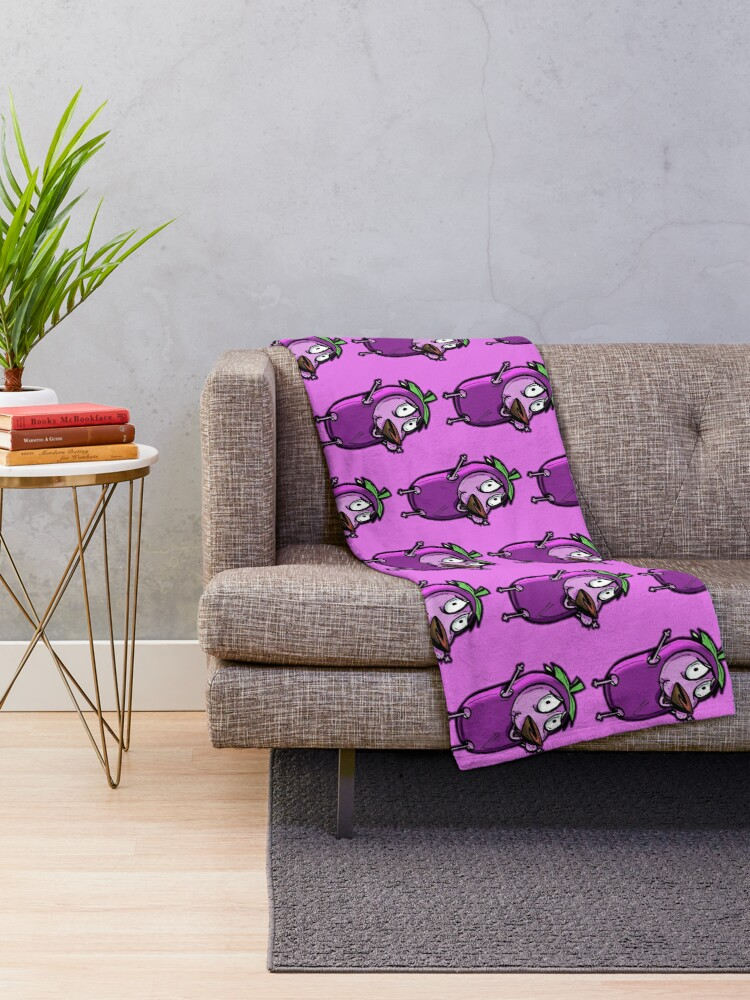 Alternate view of Courage the Cowardly Dog™ in the Great Eggplant Costume Throw Blanket