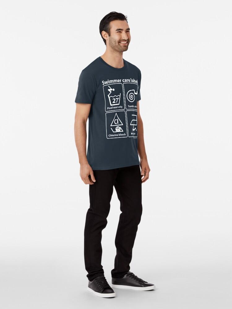 Alternate view of Swimmer care label white Premium T-Shirt