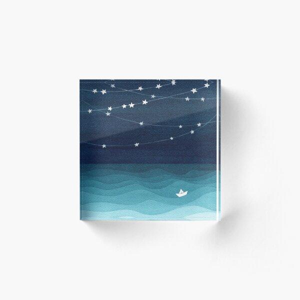 Garland of stars, teal ocean Acrylic Block