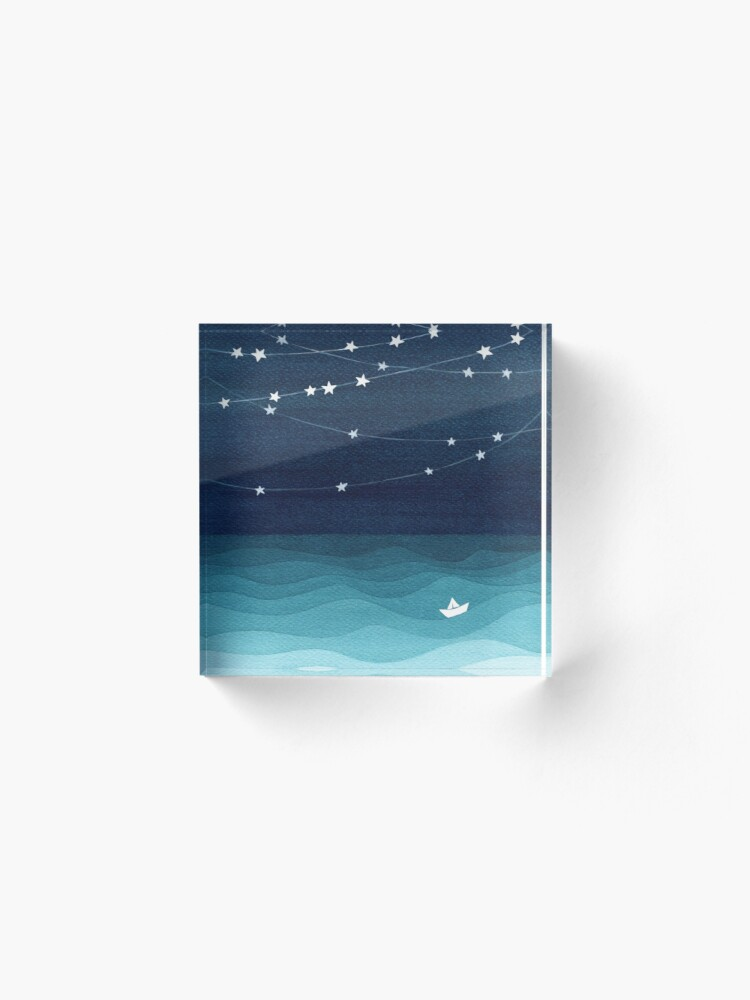 Alternate view of Garland of stars, teal ocean Acrylic Block