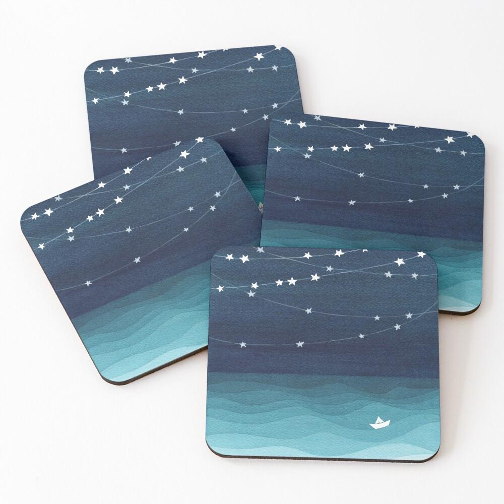 Garland of stars, teal ocean Coasters (Set of 4)