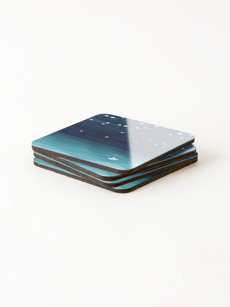 Alternate view of Garland of stars, teal ocean Coasters (Set of 4)