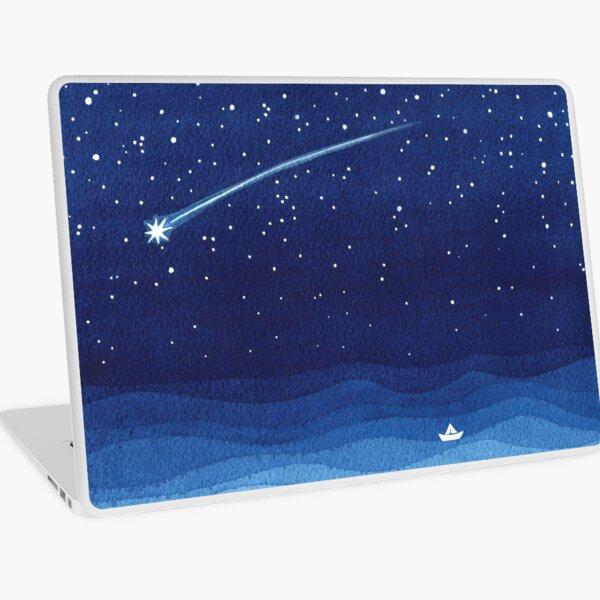 Falling star, shooting star, sailboat ocean waves blue sea Laptop Skin