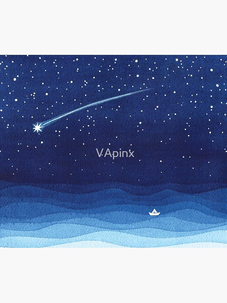 Falling star, shooting star, sailboat ocean waves blue sea by VApinx