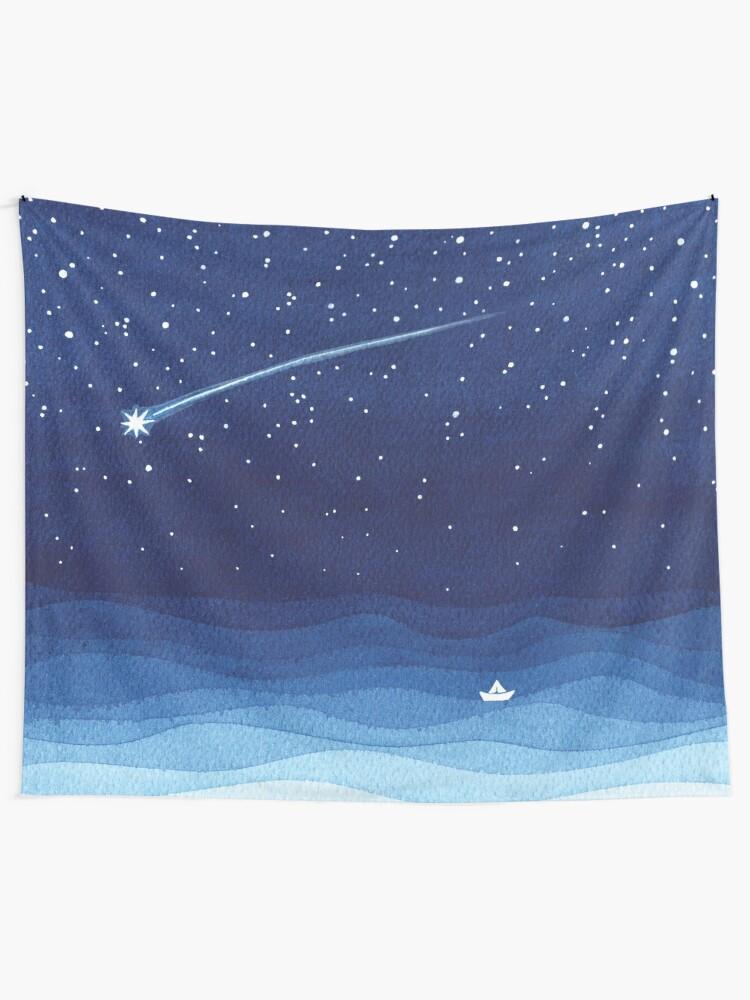 Alternate view of Falling star, shooting star, sailboat ocean waves blue sea Tapestry