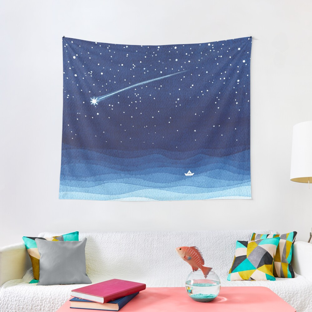 Falling star, shooting star, sailboat ocean waves blue sea Tapestry