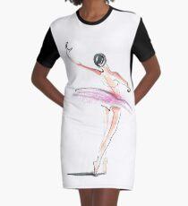 Ballerina Dance Drawing Graphic T-Shirt Dress