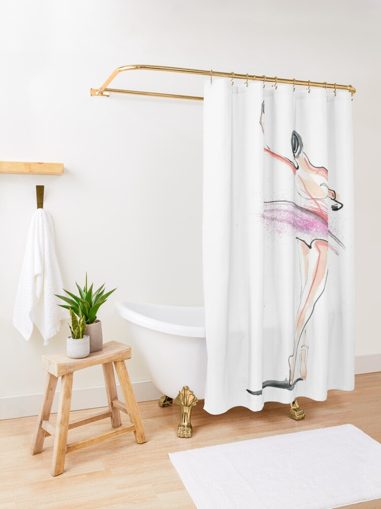 Alternate view of Ballerina Dance Drawing Shower Curtain