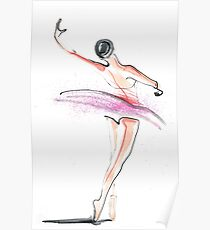 Ballerina Dance Drawing Poster